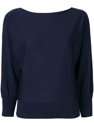 Ralph Lauren Collection Cut Out Sleeves Knitted Sweater Blue