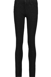 7 For All Mankind The Skinny Glittered Stretch Ponte Skinny Pants Black