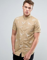 Jack And Jones Short Sleeved Shirt With All Over Illustrative Bird Print Brown