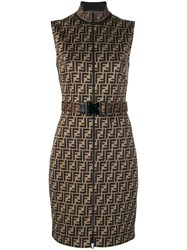 Fendi Belted Ff Logo Fitted Dress Brown