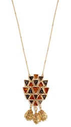 Tory Burch Triangle Pendant Necklace Multi Tory Gold