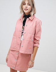 Maison Scotch Workwear Jacket With Contrast Stitching Maloja Pink