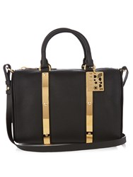Sophie Hulme Charlton Medium Leather Bowling Bag Black
