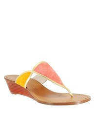 Nina Virginia Suede And Leather Thong Sandals Coral