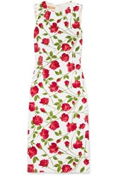 Michael Kors Collection Floral Print Stretch Cady Dress Red