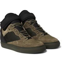 Balenciaga Suede Neoprene And Mesh High Top Sneakers Army Green
