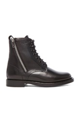 Saint Laurent Leather Ranger Zipper Combat Leather Boots In Black