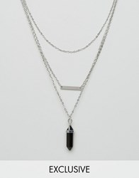 Reclaimed Vintage Crystal Multirow Necklace Silver