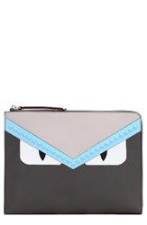Fendi Large Monster Leather Zip Pouch Grey Coal Multi Red
