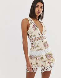 Love Triangle Extreme Plunge Mini Dress With Scallop Lace Inserts In Floral Print Multi