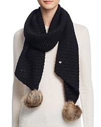 Ugg Scarf With Pom Poms 100 Bloomingdale's Exclusive Black