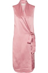 Michelle Mason Silk Charmeuse Wrap Vest Antique Rose
