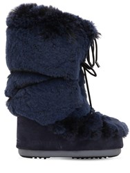 Moon Boot Faux Fur Snow Boots Navy