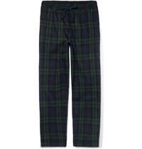 Sleepy Jones Hoffman Checked Cotton Flannel Pyjama Trousers Blue