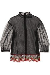 Simone Rocha Floral Embroidered Tulle Blouse Black