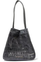 Rejina Pyo Rita Small Croc Effect Leather Bucket Bag Gray