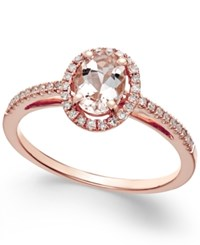 Macy's Morganite 5 8 Ct. T.W. And Diamond 1 6 Ct. T.W. Ring In 14K Rose Gold Pink