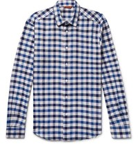 Barena Button Down Collar Checked Cotton And Linen Blend Shirt Navy