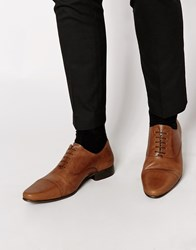Asos Oxford Shoes In Leather Tan