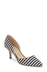 Sole Society Women's 'Jenn' Pointy Toe Pump Black White Stripe Fabric