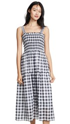 The Great Great. Scallop Clover Dress Blue Black Check Mix