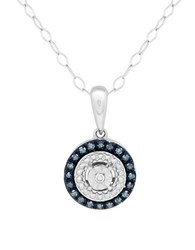 Lord And Taylor Diamond Sterling Silver Round Pendant Necklace