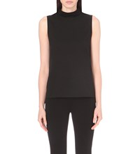 French Connection Polly Plains Mock Neck Jersey Top Black