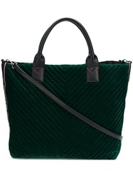 Pinko Velvet Shopping Bag Green