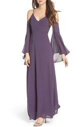 Lulus Women's Cold Shoulder Chiffon Maxi Dress