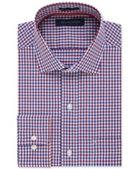 Tommy Hilfiger Non Iron Red And Blue Gingham Dress Shirt