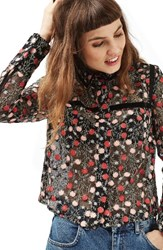 Topshop Women's Floral Embroidered Top