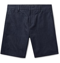 Paul Smith Nep Cotton Linen And Silk Blend Denim Shorts Blue