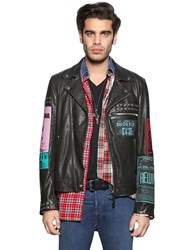 Diesel Leather Biker Jacket W Patches And Studs