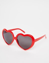 Monki Love Heart Sunglasses Red