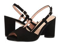 French Sole Berry Black Suede Women's Sling Back Shoes