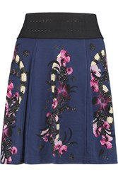 Just Cavalli Printed Jersey Mini Skirt Blue