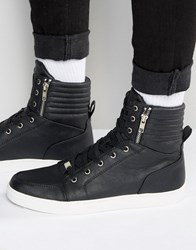 Asos Trainers In Black With Large Cuff And Zips Black