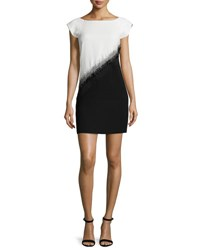 Halston Embellished Colorblock Mini Dress Bone Black