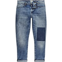 River Island Mens Mid Wash Patchwork Jimmy Slim Tapered Jeans