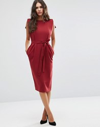 Asos Belted Midi Dress With Split Cap Sleeve And Pencil Skirt Oxblood Red