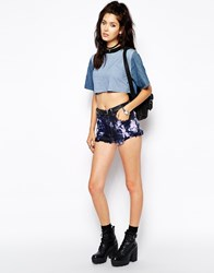Milk It The Ragged Priest High Waisted Denim Hot Pant Shorts With Tye Dye Multi