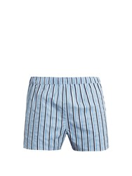 Derek Rose Modern Fit Cotton Poplin Boxer Shorts Blue Multi