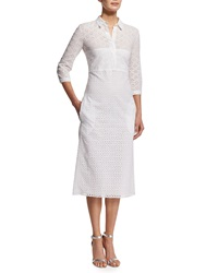 Nina Ricci 3 4 Sleeve Cotton Eyelet Shirtdress White