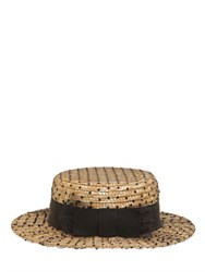 Kreisi Couture Sophie Tulle Overlay Straw Boater Hat