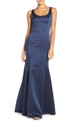 Hayley Paige Occasions Women's Back Cutout Scoop Neck Satin Trumpet Gown Indigo