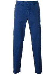 Fay Pleated Straight Leg Chinos Blue