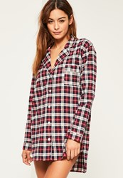 Missguided Red Checked Long Sleeve Nightshirt