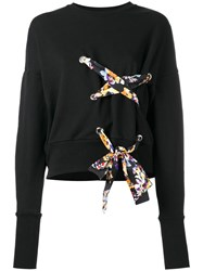 Msgm Lace Up Detail Sweatshirt Black