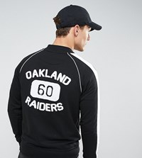 Majestic Fleece Letterman Jacket With Raiders Towelling Back Print Exclusive To Asos Black