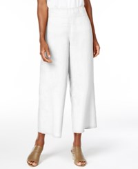 Eileen Fisher Organic Linen Cropped Wide Leg Pants Regular And Petite White